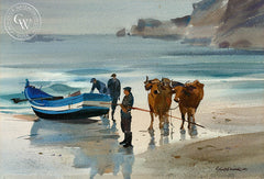 Reflections, Nazare, Portugal, 1968, California art by Robert E. Wood. HD giclee art prints for sale at CaliforniaWatercolor.com - original California paintings, & premium giclee prints for sale