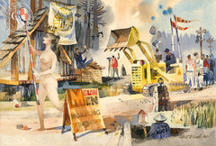Slow Men Working, 1963, a California watercolor painting by Robert E. Wood. HD giclee art prints for sale at CaliforniaWatercolor.com - original California paintings, & premium giclee prints for sale