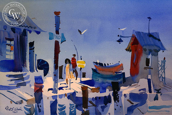 Wharf Scene, 1967, California art by Robert E. Wood. HD giclee art prints for sale at CaliforniaWatercolor.com - original California paintings, & premium giclee prints for sale