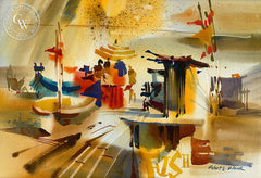 Fishing Pier, 1965, California art by Robert E. Wood. HD giclee art prints for sale at CaliforniaWatercolor.com - original California paintings, & premium giclee prints for sale