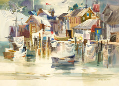 Monterey Reflections, 1975, California art by Robert E. Wood. HD giclee art prints for sale at CaliforniaWatercolor.com - original California paintings, & premium giclee prints for sale