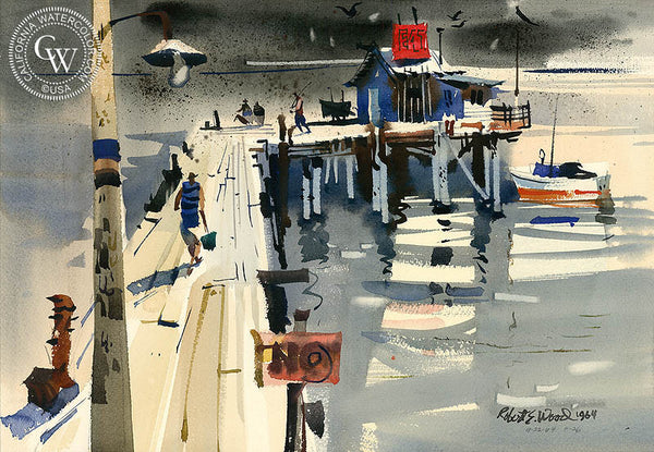 Pier Fishing, 1964, California art by Robert E. Wood. HD giclee art prints for sale at CaliforniaWatercolor.com - original California paintings, & premium giclee prints for sale