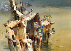 Pier Shapes, 1966, California art by Robert E. Wood. HD giclee art prints for sale at CaliforniaWatercolor.com - original California paintings, & premium giclee prints for sale