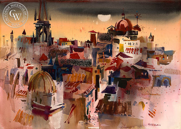 Spanish Rooftops, Toledo, Spain, 1969, California art by Robert E. Wood. HD giclee art prints for sale at CaliforniaWatercolor.com - original California paintings, & premium giclee prints for sale