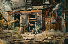 A Gentle Man, c. 1950, California art by Robert Landry. HD giclee art prints for sale at CaliforniaWatercolor.com - original California paintings, & premium giclee prints for sale