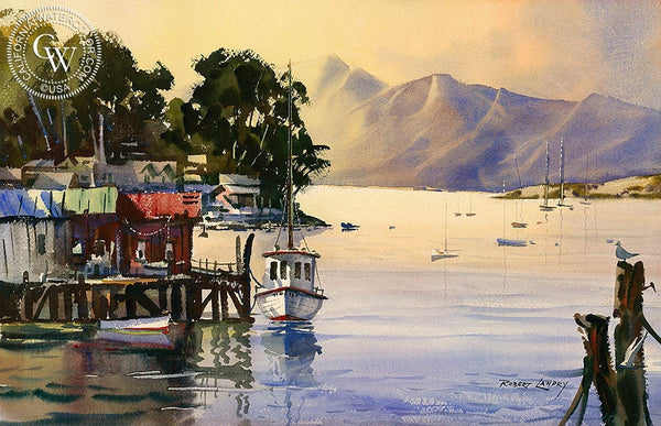 At the Dock, California art by Robert Landry. HD giclee art prints for sale at CaliforniaWatercolor.com - original California paintings, & premium giclee prints for sale