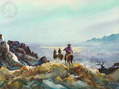 Back Bay Ride, c. 1951, California art by Robert Landry. HD giclee art prints for sale at CaliforniaWatercolor.com - original California paintings, & premium giclee prints for sale