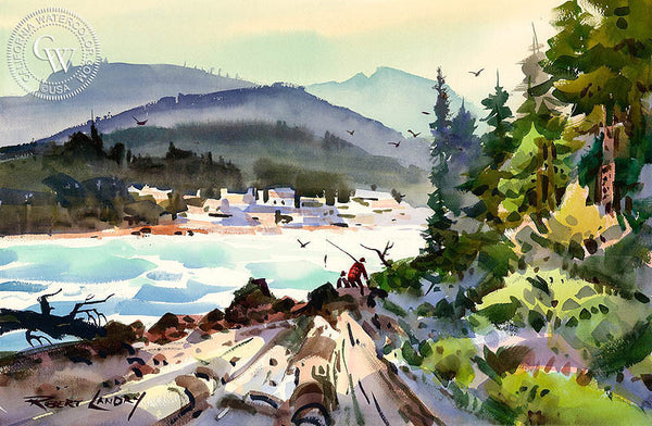 Fishermen, California art by Robert Landry. HD giclee art prints for sale at CaliforniaWatercolor.com - original California paintings, & premium giclee prints for sale