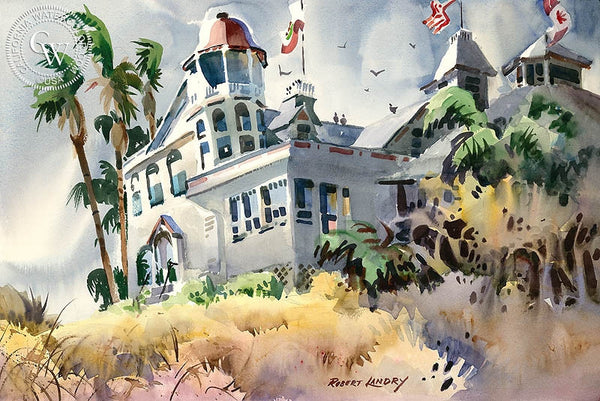 Hotel del Coronado, California art by Robert Landry. HD giclee art prints for sale at CaliforniaWatercolor.com - original California paintings, & premium giclee prints for sale