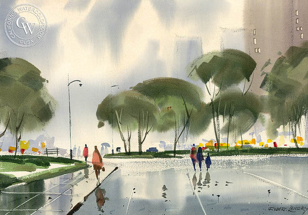 Rainy Day, California art by Robert Landry. HD giclee art prints for sale at CaliforniaWatercolor.com - original California paintings, & premium giclee prints for sale
