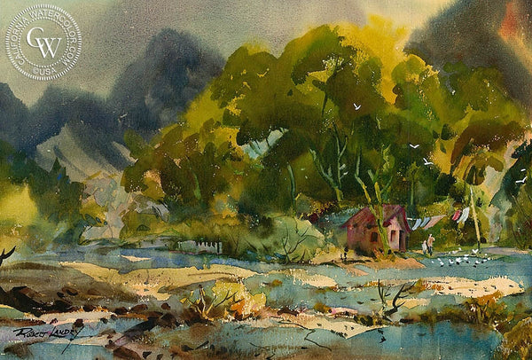 River Shack, California art by Robert Landry. HD giclee art prints for sale at CaliforniaWatercolor.com - original California paintings, & premium giclee prints for sale