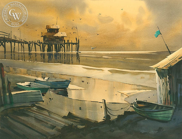 Sunset at Newport, California art by Robert Landry. HD giclee art prints for sale at CaliforniaWatercolor.com - original California paintings, & premium giclee prints for sale