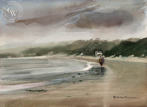 Strolling the Beach, California art by Robert Hiram Meltzer. HD giclee art prints for sale at CaliforniaWatercolor.com - original California paintings, & premium giclee prints for sale