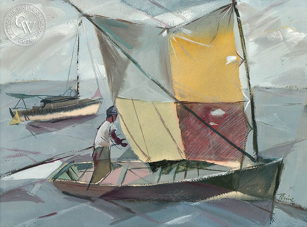 Robert Perine - Sailing, California art, original California watercolor art for sale - CaliforniaWatercolor.com