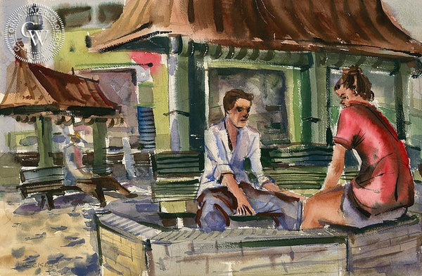 Along the Wall at Venice Beach, California art by Robert Uecker. HD giclee art prints for sale at CaliforniaWatercolor.com - original California paintings, & premium giclee prints for sale