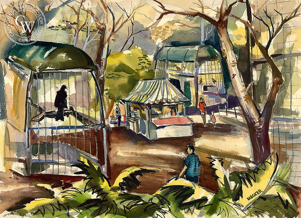 The Aviary, c. 1940's, California art by Robert Uecker. HD giclee art prints for sale at CaliforniaWatercolor.com - original California paintings, & premium giclee prints for sale