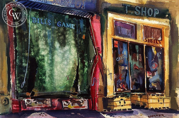 Bill's Game, 1948, California art by Robert Uecker. HD giclee art prints for sale at CaliforniaWatercolor.com - original California paintings, & premium giclee prints for sale