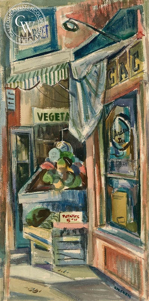 The Market, California art by Robert Uecker. HD giclee art prints for sale at CaliforniaWatercolor.com - original California paintings, & premium giclee prints for sale
