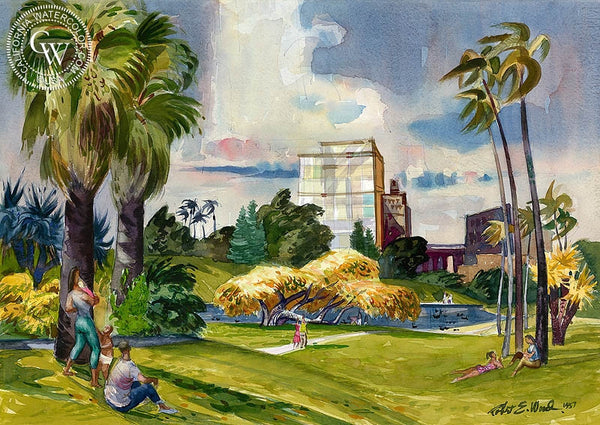 A Day in the Park, 1957, California art by Robert E. Wood. HD giclee art prints for sale at CaliforniaWatercolor.com - original California paintings, & premium giclee prints for sale