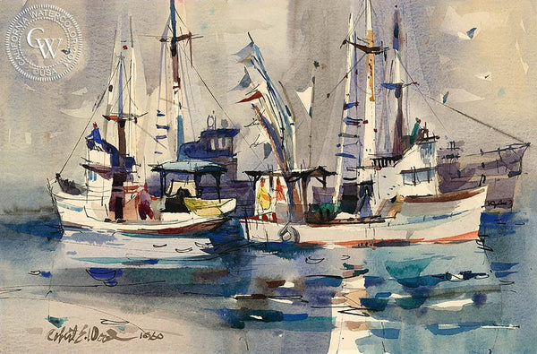 Fishing Boats, 1960, California art by Robert E. Wood. HD giclee art prints for sale at CaliforniaWatercolor.com - original California paintings, & premium giclee prints for sale
