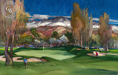 Hole #7, Lake Arrowhead Country Club, 1992, California art by Robert E. Wood. HD giclee art prints for sale at CaliforniaWatercolor.com - original California paintings, & premium giclee prints for sale