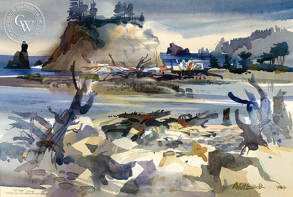 La Posh, Mouth of the Quillayute River, 1963, California art by Robert E. Wood. HD giclee art prints for sale at CaliforniaWatercolor.com - original California paintings, & premium giclee prints for sale