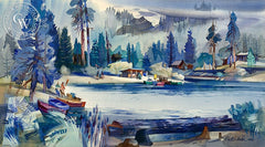 Green Valley Lake, 1962, California art by Robert E. Wood. HD giclee art prints for sale at CaliforniaWatercolor.com - original California paintings, & premium giclee prints for sale