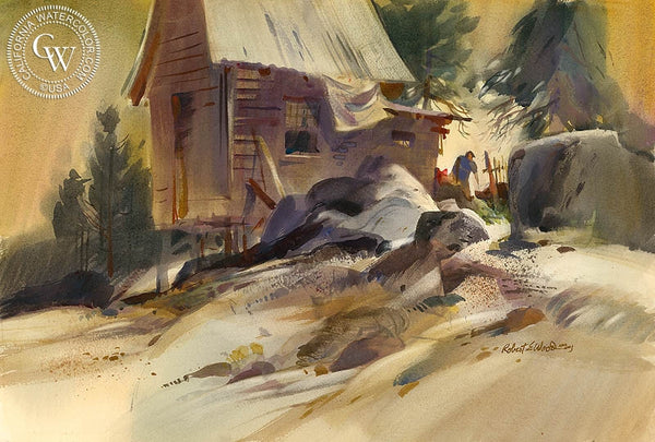 Lumberjack, California art by Robert E. Wood. HD giclee art prints for sale at CaliforniaWatercolor.com - original California paintings, & premium giclee prints for sale