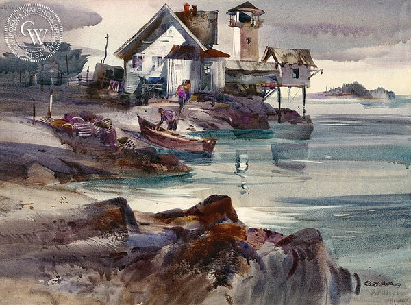 Northport, California art by Robert E. Wood. HD giclee art prints for sale at CaliforniaWatercolor.com - original California paintings, & premium giclee prints for sale