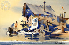 Shore Reflections, 1967, California art by Robert E. Wood. HD giclee art prints for sale at CaliforniaWatercolor.com - original California paintings, & premium giclee prints for sale