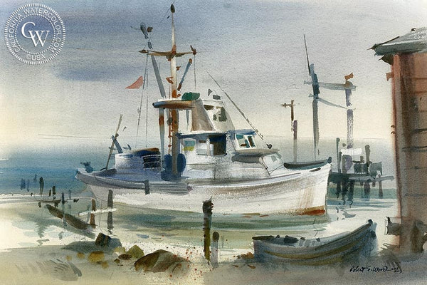 Shrimp Boat 1, California art by Robert E. Wood. HD giclee art prints for sale at CaliforniaWatercolor.com - original California paintings, & premium giclee prints for sale