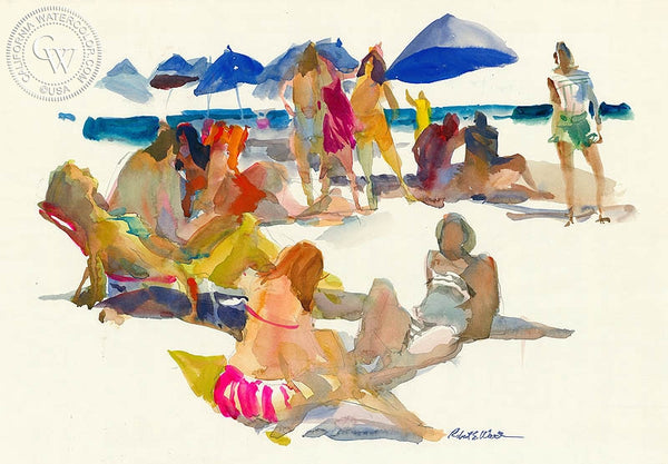 Sun Bathers, California art by Robert E. Wood. HD giclee art prints for sale at CaliforniaWatercolor.com - original California paintings, & premium giclee prints for sale