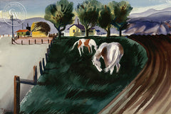 Belmont, 1948, California art by Rollin Pickford. HD giclee art prints for sale at CaliforniaWatercolor.com - original California paintings, & premium giclee prints for sale