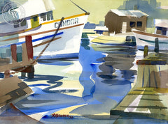 Condor, Noyo Harbor, Mendocino, California art by Ron Hanner. HD giclee art prints for sale at CaliforniaWatercolor.com - original California paintings, & premium giclee prints for sale