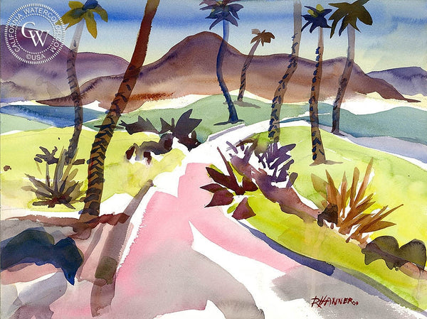 Desert Falls Country Club, California art by Ron Hanner. HD giclee art prints for sale at CaliforniaWatercolor.com - original California paintings, & premium giclee prints for sale