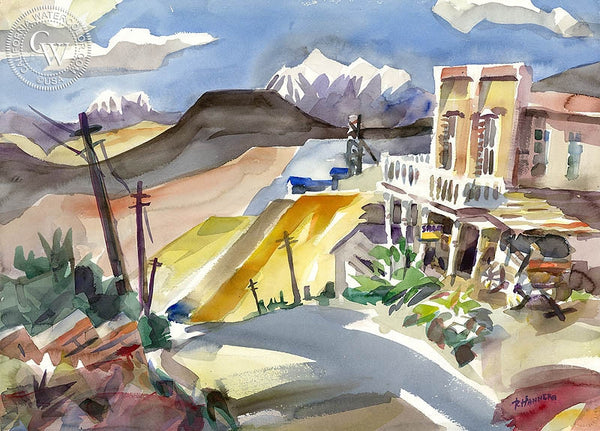 Gold Hill, Virginia City, California art by Ron Hanner. HD giclee art prints for sale at CaliforniaWatercolor.com - original California paintings, & premium giclee prints for sale