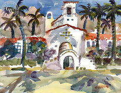 La Quinta Resort Spa, California art by Ron Hanner. HD giclee art prints for sale at CaliforniaWatercolor.com - original California paintings, & premium giclee prints for sale