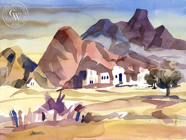 La Quinta Saw Tooth Mountains from Miles Road, California art by Ron Hanner. HD giclee art prints for sale at CaliforniaWatercolor.com - original California paintings, & premium giclee prints for sale