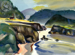Mendocino Bay IV, California art by Ron Hanner. HD giclee art prints for sale at CaliforniaWatercolor.com - original California paintings, & premium giclee prints for sale