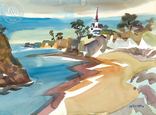 Mendocino Beach, California art by Ron Hanner. HD giclee art prints for sale at CaliforniaWatercolor.com - original California paintings, & premium giclee prints for sale