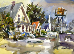 Mendocino Village II, California art by Ron Hanner. HD giclee art prints for sale at CaliforniaWatercolor.com - original California paintings, & premium giclee prints for sale