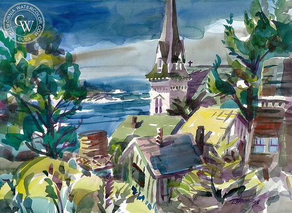 Mendocino Village, California art by Ron Hanner. HD giclee art prints for sale at CaliforniaWatercolor.com - original California paintings, & premium giclee prints for sale