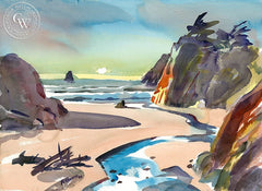 Seaside Beach, Fort Bragg, California art by Ron Hanner. HD giclee art prints for sale at CaliforniaWatercolor.com - original California paintings, & premium giclee prints for sale