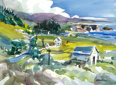 South of Westport, Mendocino, California art by Ron Hanner. HD giclee art prints for sale at CaliforniaWatercolor.com - original California paintings, & premium giclee prints for sale