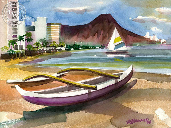 Waikiki, California art by Ron Hanner. HD giclee art prints for sale at CaliforniaWatercolor.com - original California paintings, & premium giclee prints for sale