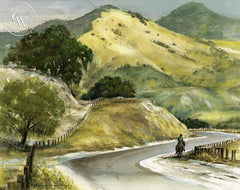 Horseman on the Road, California art by Roscoe Carver. HD giclee art prints for sale at CaliforniaWatercolor.com - original California paintings, & premium giclee prints for sale