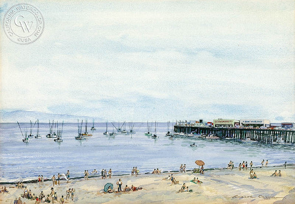 Santa Cruz, c. 1930's, California art by Roscoe Carver. HD giclee art prints for sale at CaliforniaWatercolor.com - original California paintings, & premium giclee prints for sale