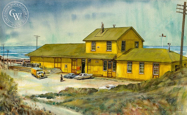 Surf Station, Santa Barbara, California art by Roscoe Carver. HD giclee art prints for sale at CaliforniaWatercolor.com - original California paintings, & premium giclee prints for sale