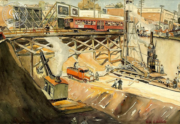 Moreno & Sunset Blvd., 1933, California art by Ruth Minerva Bennett. HD giclee art prints for sale at CaliforniaWatercolor.com - original California paintings, & premium giclee prints for sale