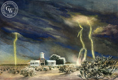 Lightning Storm, c. 1948, California art by Ruth Lotan. HD giclee art prints for sale at CaliforniaWatercolor.com - original California paintings, & premium giclee prints for sale